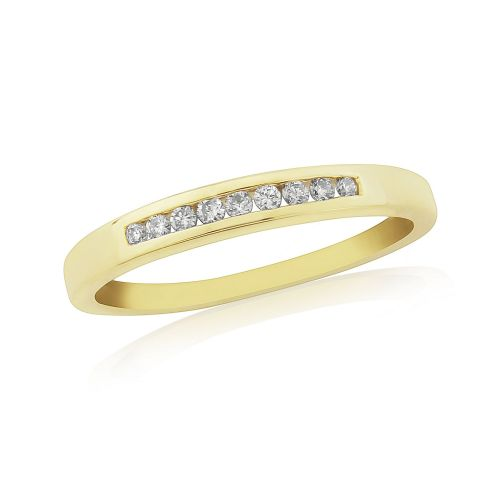 Yellow Gold Diamond Eternity Ring Channel Set 10 Points